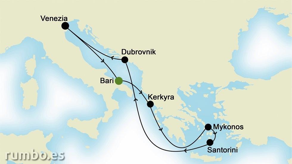 ISLAS GRIEGAS Y MEDITERRÁNEO ORIENTAL  desde Bari