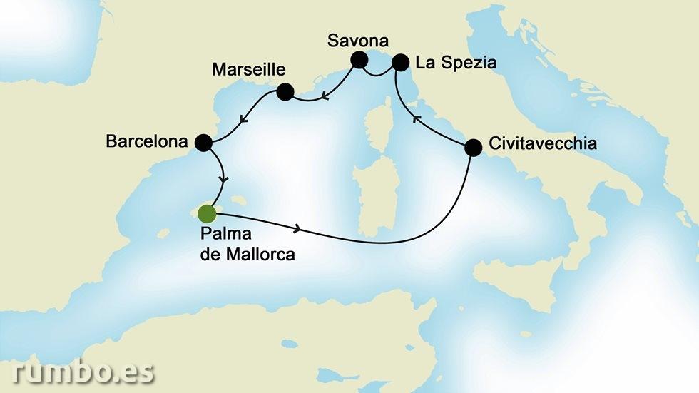 MEDITERRÁNEO OCCIDENTAL desde Palma de Mallorca